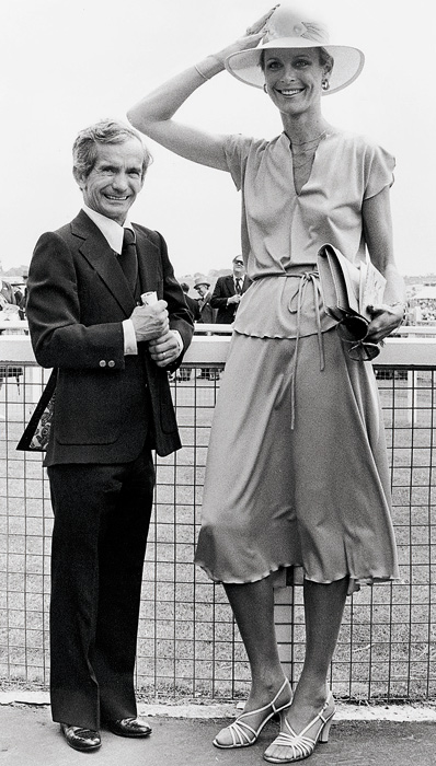 Jockey Willie Shoemaker poses with his wife, Cynthia, before the start of the 199th Derby Stakes in Great Britain. The couple married in 1978 and divorced in 1994.