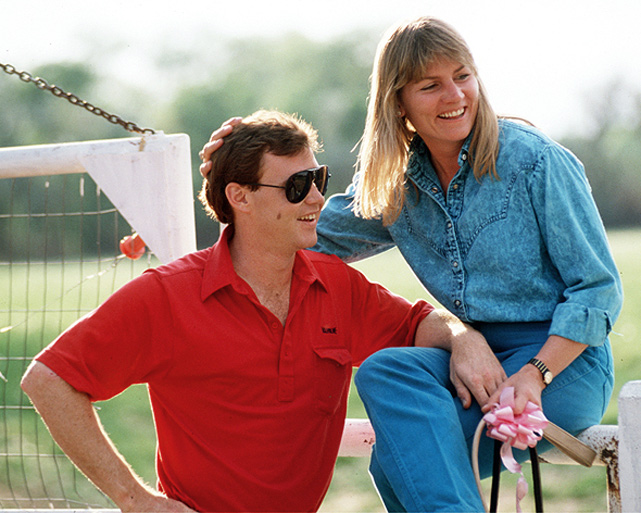 Al Unser Jr. poses with his wife, Shelly, in 1989. The couple were divorced in 1999 after nearly 20 years of marriage.