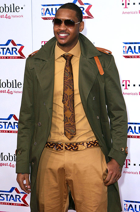 Somehow, 'Melo makes brown, khaki and olive green look good.