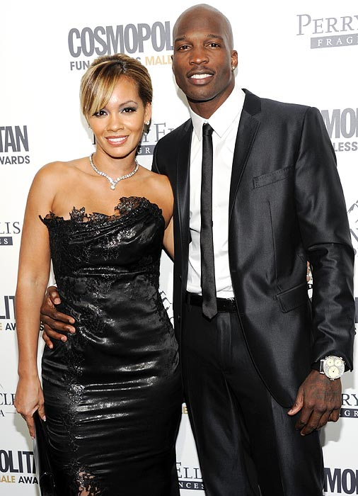 Chad Ochocinco and his fiancee Evelyn Lozada are a sharp-looking couple. Ochocinco complements Lozada with a skinny black tie and wing collar, and a large, swanky watch.