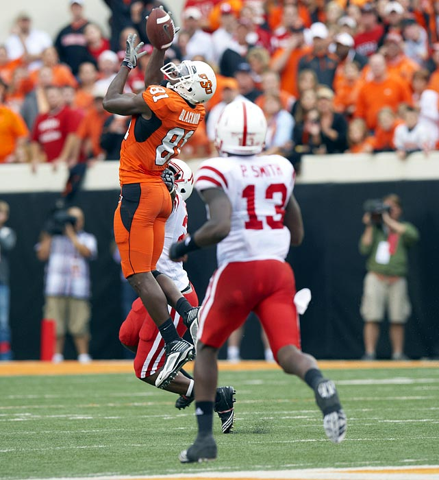 The 2010 Biletnikoff Award winner set an NCAA record by finishing with at least 100 yards and a touchdown in 12 consecutive games.