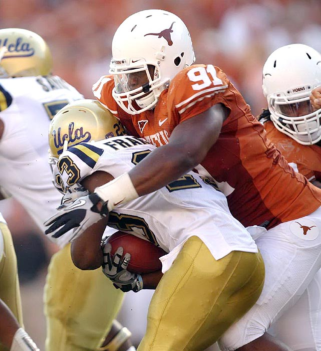 The veteran enters his third year as one of the Longhorns' starters inside. His push up front has helped Texas produce defenses ranked in the top six nationally in each of the past two seasons.