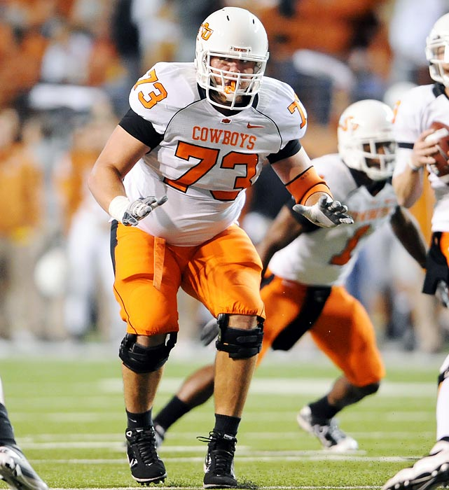 In his first year starting at right tackle, Adcock didn't allow a sack and earned All--Big 12 recognition last season. He was one of the key pass blockers for 4,277-yard passer Brandon Weeden.