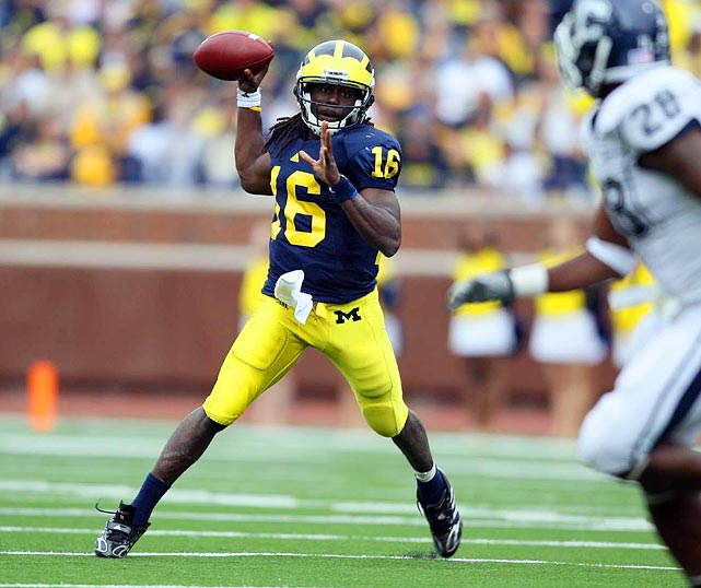 "In 2010 ""Shoelace"" became the first player in NCAA history to rush for 1,500 yards and pass for 2,500 in a season. Robinson may be fresher in '11 as the Wolverines go from a spread to a tight formation."