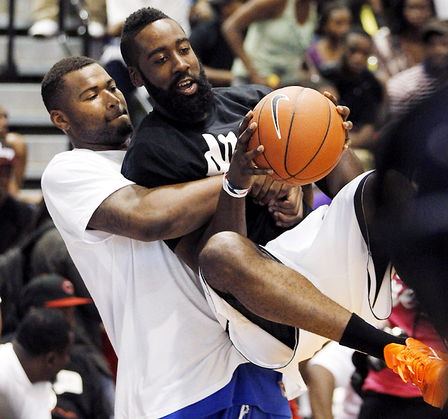 Sacramento's DeMarcus Cousins (left) and Oklahoma City's James Harden play around before tip-off. Harden went on to score 29 points in a losing effort for the Drew side.