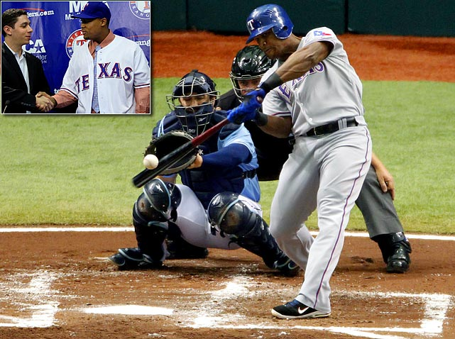 Some thought Texas overpaid the slugging third baseman this offseason, but in the Rangers' series-clinching victory, Beltre was worth every penny of his six-year, $96-million deal. He smashed three home runs in Texas' 4-3 win in Game 4. It was only the seventh time a player hit three homers in a postseason game.