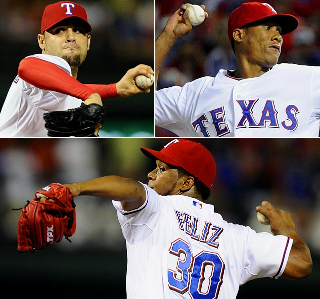 A pair of rain delays shortened Texas starter C.J. Wilson's day, but the Rangers used their deep bullpen to shut down Detroit's offense and collect a 3-2 win in the ALCS opener. Michael Gonzalez replaced Wilson in the fifth inning after the second delay and escaped a bases-loaded jam. Alexi Ogando then pitched two scoreless innings to earn the win. After a pair of pitchers held the lead through the eighth, Neftali Feliz closed out the win.