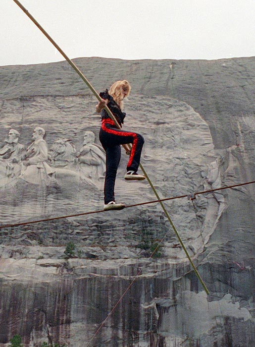 Angel Wallenda performs at Stone Mountain, Ga. Angel took to the high-wire even after losing a leg to cancer, but died of the disease on May 3, 1996, at age 28.
