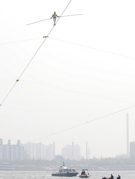 Ya Kefujiang Maimitili of China competes during the speed race of the 2009 Hangang High Wire World Championship.