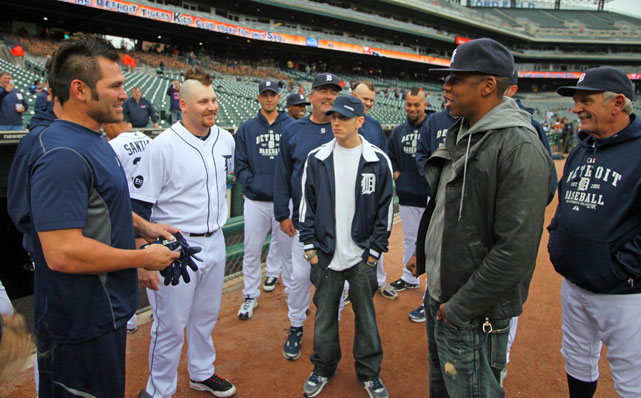 Rapper and Detroit native Eminem tagged along with Jay-Z to meet Johnny Damon and the Tigers before their second game of a double-header against the Yankees.