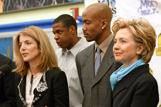 Caroline Kennedy, Jay-Z, Stephon Marbury and Hillary Clinton. This is like an awkward family photo.