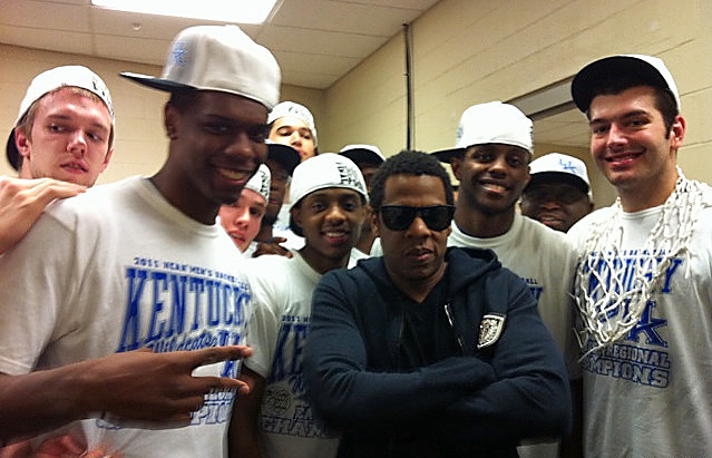Hova's involvement in sports hasn't always been positive. His visit to the Kentucky locker room after the Wildcats beat UNC in the Elite Eight in 2011, Hova was fined $50,000 by the NBA. Owners of pro teams aren't allowed to mingle with college athletes.   To find out how he felt about this fine, be sure to listen to one of his new tracks on the Watch The Throne.