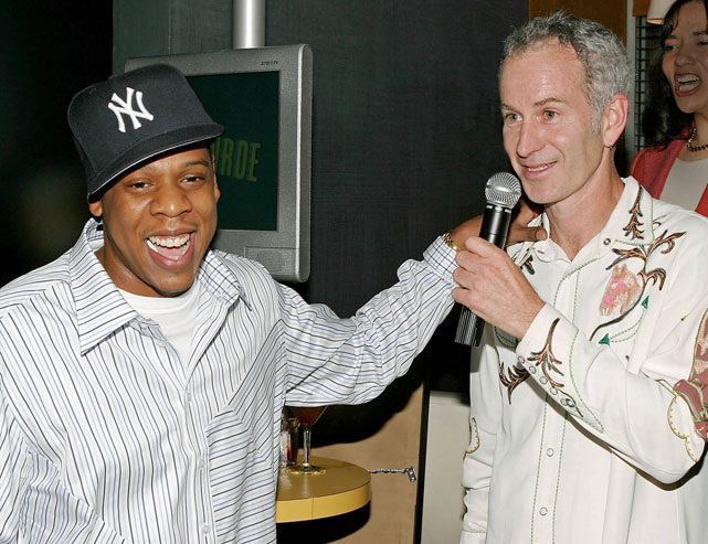 Jay enjoys a laugh with tennis great and fellow New Yorker John McEnroe during a launch party for McEnroe's talk show on CNBC. The show lasted all of five months.