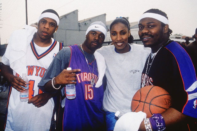 "WNBA legend Lisa Leslie joined Hova, Memphis Bleek (second from left) and Beanie Sigel on the set of Bleek's video for ""Do My"" in 2001."