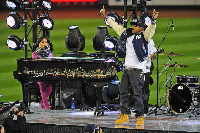 "Jay-Z and Alicia Keys serenaded fans at the new Yankee Stadium with ""Empire State of Mind"" before Game 2 of the 2009 World Series."