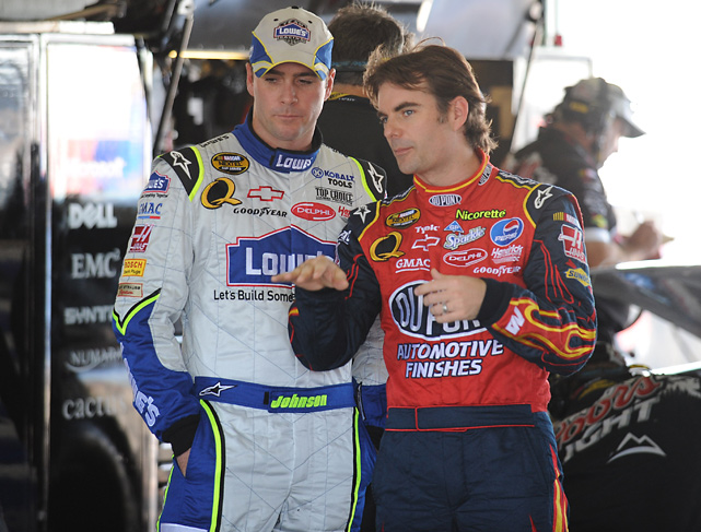 Gordon talks with fellow driver Jimmie Johnson in 2007. At that time, Johnson had just won his first Sprint Cup title. Johnson now has five Sprint Cup championships, one more than Gordon.