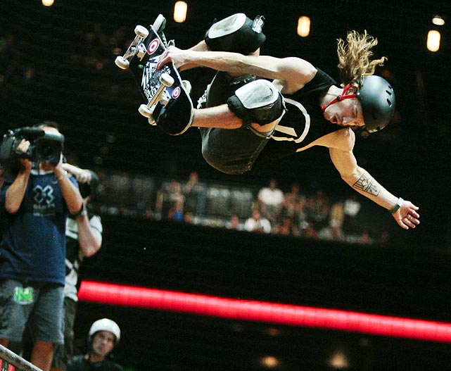 Extreme sport legend Shaun White performs during the Skateboard Vert final at X Games 17 in Los Angeles. The performance earned White his 20th career  X Games medal.