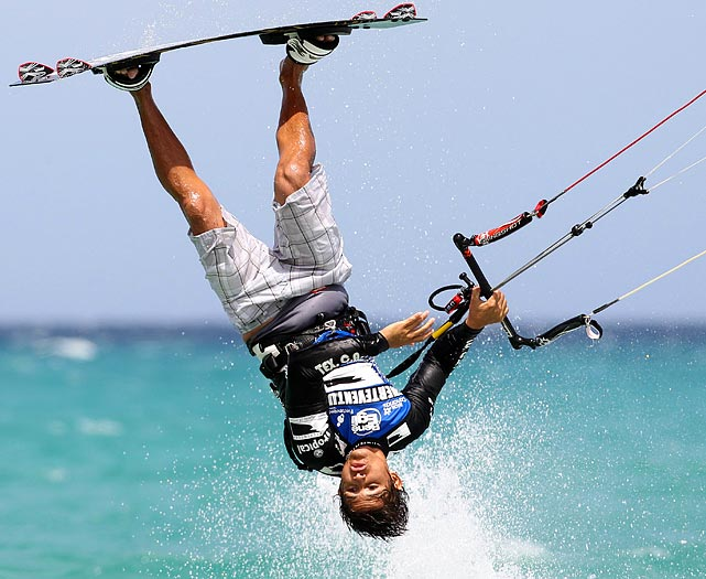 Oscar Hurtado of Venezuela shows off his kite surfing skills during the Windsurfing World Tour 2011.
