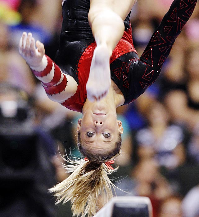 Heads up for Shawn Johnson as she competes on the balance beam during the final round of the U.S. gymnastics championships. Johnson, who won the all-around silver medal in the 2008 Olympics, is attempting to make the 2012 Olympic team.