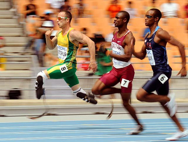 South African double-amputee Oscar Pistorius runs in the 400 meter heats, where he places third to move on to the semifinals. This is the first major event in which Pistorius, who was born without fibulas, has competed in since the IAAF overturned the ban on his prosthetics.
