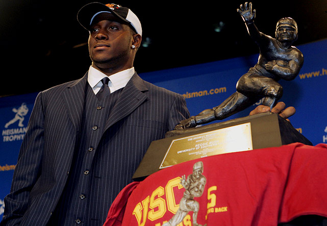 Flipping through the NCAA record books, it's evident that no one won the 2005 Heisman. That's because Reggie Bush, the former winner, was stripped of the award after it came to light that his parents were paid hundreds of thousands of dollars in illicit benefits. Bush surrendered the storied trophy, and USC also paid a high price. Though head coach Pete Carroll took off for the NFL, his Trojans were stripped of 30 scholarships and handed a two-year postseason ban.
