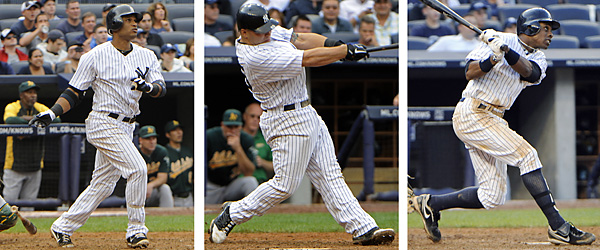 From left, Robinson Cano, Russell Martin and Curtis Granderson hit grand slams on Aug. 25 against Oakland. The Yankees became the first team in major league history to hit three grand slams in a game, on the way to a 22-9 win.