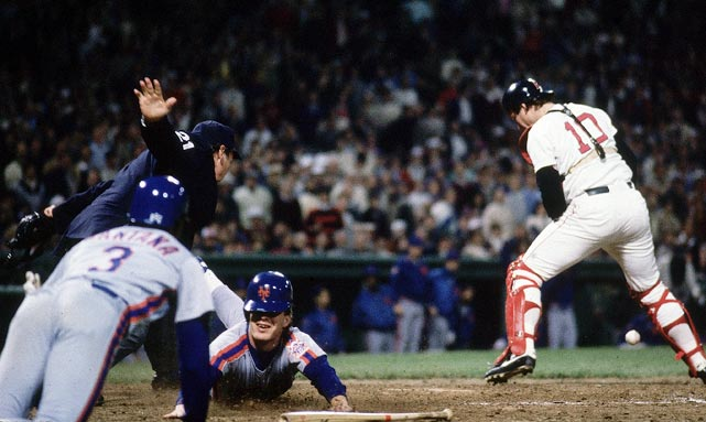 After losing to the Red Sox again in Game 2, the Mets responded in Game 3 at Fenway Park with a 7-1 victory. Lenny Dykstra (pictured here during the season) led off the game with a home run against Oil Can Boyd and collected four hits in the rout.
