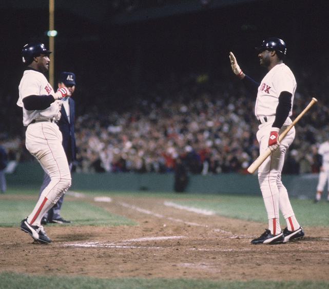 Boston's Bruce Hurst was again outstanding in Game 5 at Fenway, going the distance in a 4-2 victory. Mets ace Dwight Gooden struggled early and was pulled after four innings and three earned runs. Jim Rice (pictured) had two hits and scored a run for Boston.