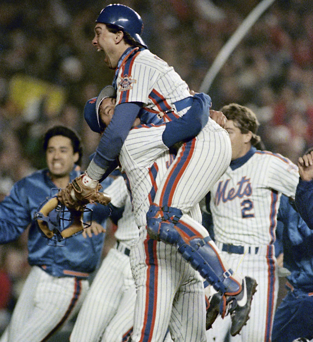 In Game 7, the Mets trailed 3-0 before scoring all of their runs in the sixth, seventh and eighth innings of an 8-5 victory. It was the franchise's first championship since 1969.