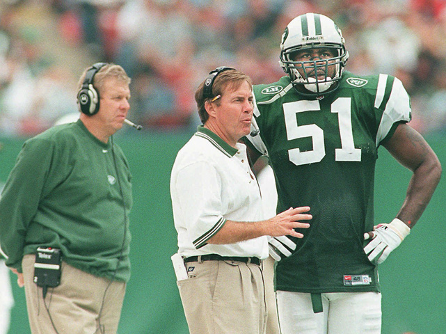"Belichick talks with Jets linebacker Bryan Cox during a game against the Colts. After Parcells resigned as Jets head coach following the 1999 season, Belichick was slated to take over. He spent just one day as head coach of the Jets, famously resigning with a handwritten note that said,  ""I resign as HC of the NYJ."""