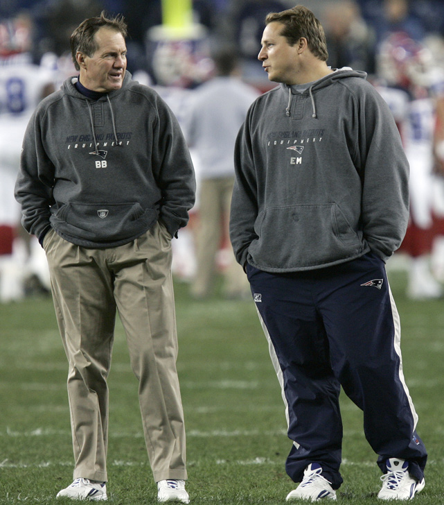 "In 2007, Belichick was at the center of controversy when former assistant coach Eric Mangini (right), in his first season as head coach of the Jets, tipped off league officials that New England was illegally filming signals. The incident, known as ""Spygate,"" resulted in a $500,00 fine for Belichick, the highest ever given to a coach, and the Patriots were fined $250,000 and forced to give up a first-round draft pick."