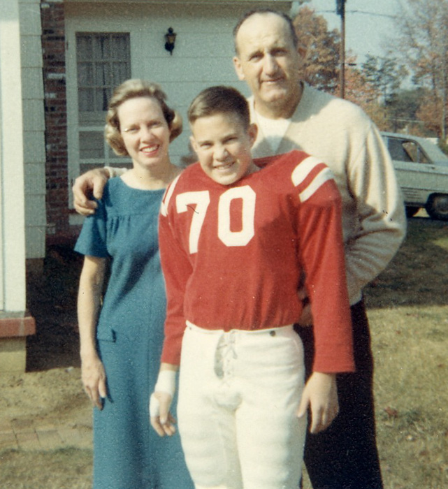 As the son of a football coach, Belichick was analyzing game film by age 10 and showed a natural inclination for the game. Here he poses with his parents, Steve and Jeanette.