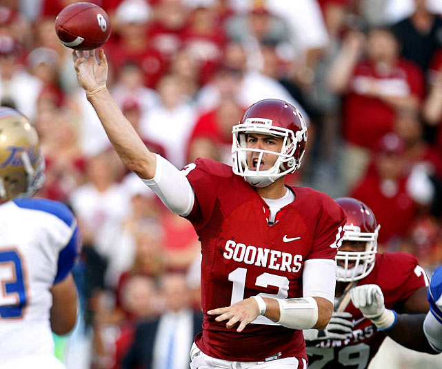 """Last week:  35-of-47 passing for 375 yards, one TD; one rush for two yards in 47-14 win over Tulsa.  He completed 74.5 percent of his passes, re-established his connection with All-America receiver Ryan Broyles and didn't throw a pick. It was exactly the kind of tune-up Jones needed heading into a showdown with sixth-ranked Florida State. Even if he did say he was a  """"little off""""  Jones also continued his climb up the Sooners record books, passing Jason White as the school's second-leading passer, trailing only Sam Bradford. For those looking ahead, the Seminoles allowed all of 92 passing yards in their opener, but it was against UL-Monroe.   Next up:  Saturday, Sept. 17 at No. 6 Florida State"""