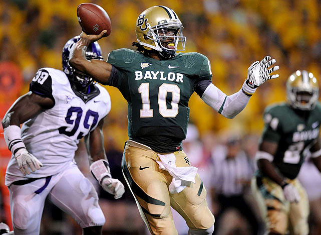 Last week:  21-of-27 passing for 359 yards, five TDs; 10 rushes for 38 yards and one reception for 15 yards in 50-48 win over No. 14 TCU.  If you weren't hip to RGIII before, you are now. He has always been captivating -- he set or broke 27 Baylor records last season -- but Griffin had yet to deliver a performance like this on a national stage. But given that TCU's defense had lost six starters from 2010, the question remains: does he have staying power? The Bears don't play a currently ranked opponent again until Oct. 15, so we'll be hearing plenty about Griffin, and  his socks  over the coming weeks, before he enters a pivotal stretch vs. Texas A&M, Oklahoma State and Missouri.   Next up:  Saturday, Sept. 17 vs. Stephen F. Austin