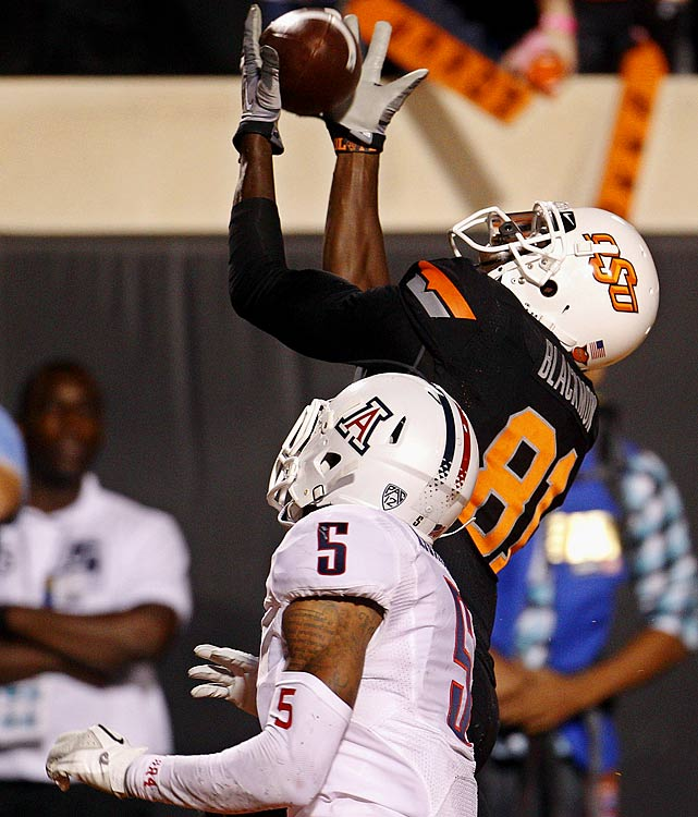 Last week:  12 receptions for 128 yards and two TDs; one rush for six yards in 37-14 win over Arizona.   Season:  20 receptions for 272 yards and two TDs; one rush for six yards.  Take your pick on your favorite   Blackmon highlight  from this one. There was the over-the-shoulder-catch on a fade route where he managed to tap his foot down for the touchdown, and then there was the 360 spin move that left Wildcats safety Marquis Flowers shaking his head. Combined with the Cowboys' 36-10 win in December's Alamo Bowl, Blackmon has burned 'Zona to the tune of 21 catches for 245 yards and four TDs.   Next up:  Saturday at Tulsa