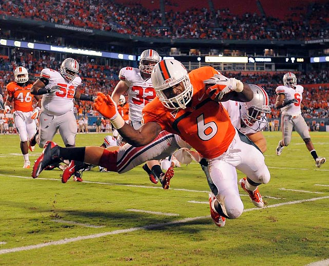 Miami running back Lamar Miller had 184 yards on the ground, but no touchdowns. He was pushed out by Ohio State's Andrew Sweet here, but the Hurricanes defeated the Buckeyes 24-6 in what many dubbed the ineligibowl.