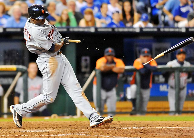 Detroit Tigers' centerfielder Austin Jackson breaks his bat in the seventh inning of a 10-2 loss to the Kansas City Royals.