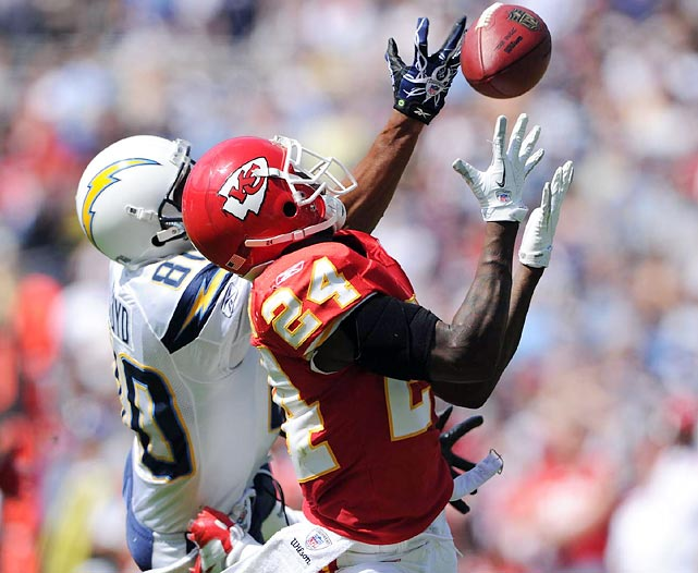 Kansas City cornerback Brandon Flowers looks like the intended receiver on a pass that's out of Chargers' wideout Malcolm Floyd's reach. Philip Rivers threw two interceptions, but San Diego still squeaked past the winless Chiefs.