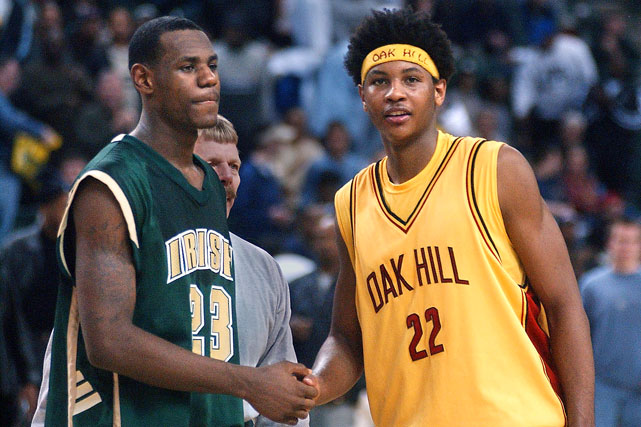 LeBron and Carmelo Anthony, who sported a sweet dread-'fro during his days Oak Hill Academy in Virginia, were the two most-coveted high school players in 2002. Anthony went on to win an NCAA Championship at Syracuse before being selected by Denver with the No. 3 pick in the 2003 draft. LeBron jumped straight to the pros in '03 as the top overall pick.