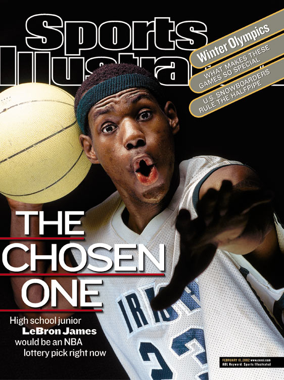The first of LeBron's 16 SI covers, which went out on Feb. 18, 2002, was easily his most famous.