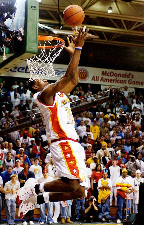 LeBron dominated the 2003 McDonald's All-American game, tallying a game-high 27 points, seven rebounds and seven assists and winning the MVP award. He also won the slam-dunk competition.