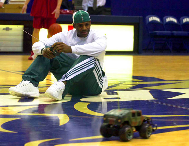 Since a life-size Hummer isn't enough, LeBron got a remote-control one to play around with before a game.