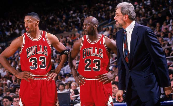 Michael Jordan and Scottie Pippen powered the Phil Jackson-coached Bulls to a 72-10 season, the only team in NBA history to reach 70 victories. Chicago opened 41-3, led the NBA in offensive and defensive efficiency and outscored its opponents by an average of 12.2 points. The Bulls didn't let up in the playoffs, either, winning 14 of their first 15 and 15 of 18 overall (Seattle won back-to-back games against Chicago in the Finals).