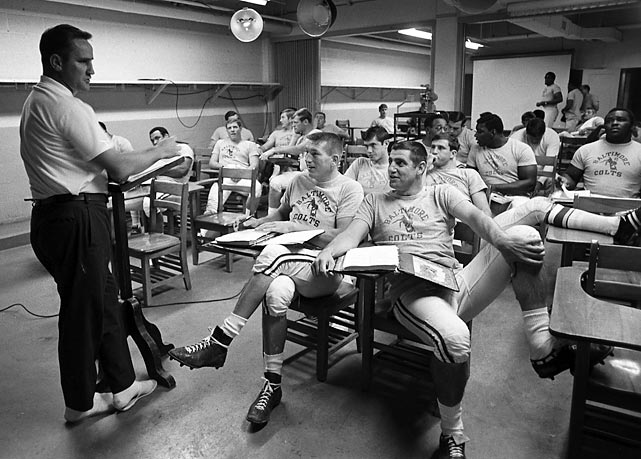 """I don't know any other way to lead but by example,"" said Don Shula, addressing his team with quarterback John Unitas and Earl Morrall side-by-side in the front row."