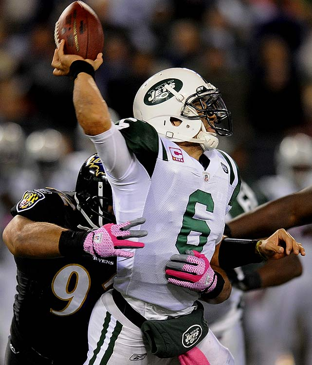 The All-pro defensive lineman was fined for lowering his helmet into the back of New York Jets' quarterback Mark Sanchez in Week 4.