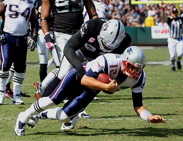 Seymour was fined for two infractions against the New England Patriots, his former team, in Week 4. The first was for unnecessarily driving Tom Brady to the ground and the second was a facemask penalty against BenJarvus Green-Ellis.