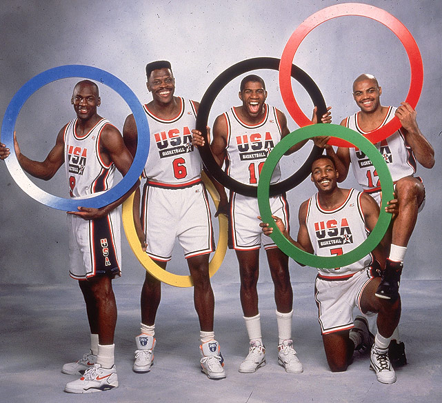 FIBA allowed professional basketball players to compete in the Olympics for the first time at the 1992 Games. The best players in the NBA teamed up to represent the USA, winning the gold medal with arguably the best team ever assembled.