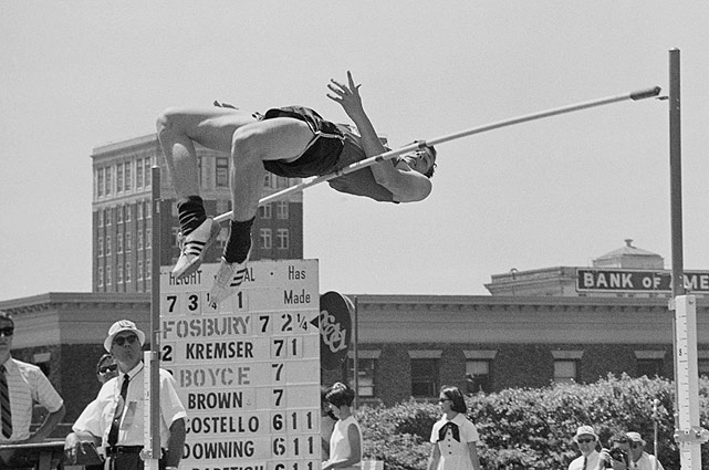Dick Fosbury, creator of the 'Fosbury Flop' high jump technique that's used almost universally today, took the high jump gold medal at the 1968 Olympics. His performance using his revolutionary technique was controversial, but his new Olympic record helped it quickly gain acceptance.