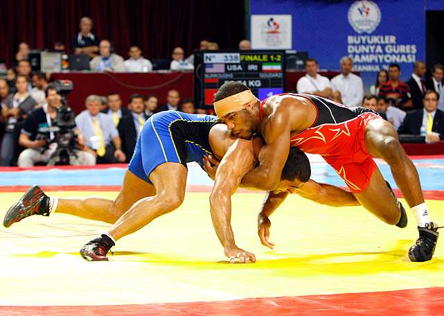Jordan Burroughs (red), the only 2011 World Champion for U.S. wrestling, is America's best chance for a gold medal in London. The former Nebraska Cornhusker says he wants to break John Smith's record of six world titles.