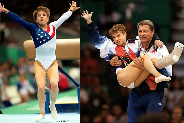 Kerri Strug, part of the 1996 'Magnificent Seven' gymnastics team, is known for her famous vault on an injured ankle. Strug managed to stick the vault on only one foot to win the team gold medal, and later was carried to the medals podium by her coach.